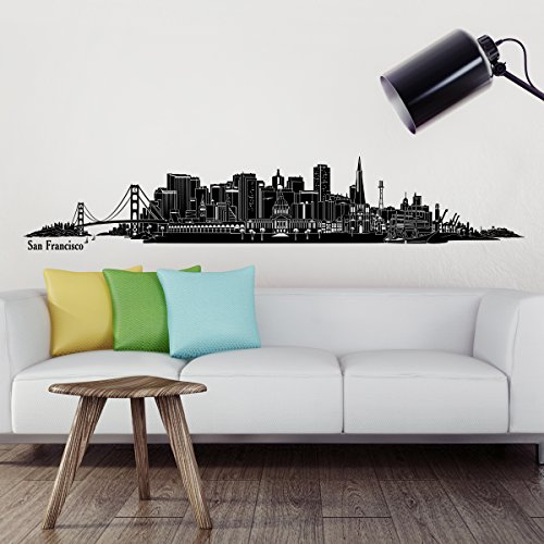 Wandkings® Skyline wall sticker wall decal - 47.6 x 8.7 inch in black - Your city selectable - SAN FRANCISCO