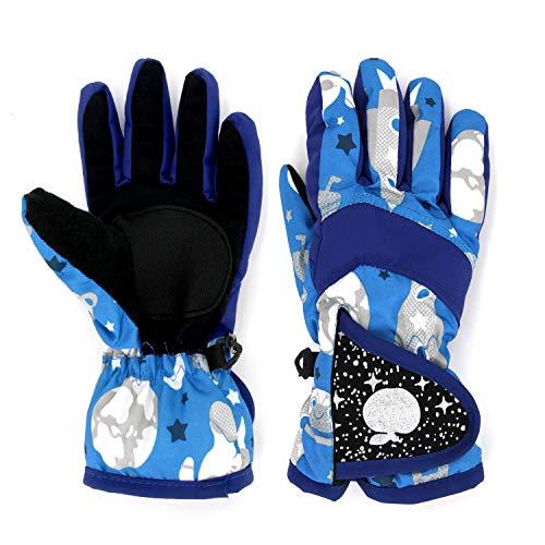 Guantes de nieve para niños, guantes de invierno impermeables con hebilla ajustable para niños, niñas, niños pequeños,...