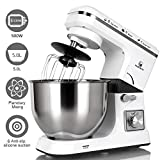 MURENKING Stand Mixer MK36 500W 6-Speed 5-Quart Stainless Steel Bowl, Tilt-Head Kitchen Electric Food Mixer with Three Attachments, White