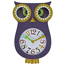 Lily's Home Pendulum Owl Clock with Revolving Eyes and Swinging Tail, Wonderful and Colorful Addition to Owl Themed Bedroom Décor, Purple (13 x 8)