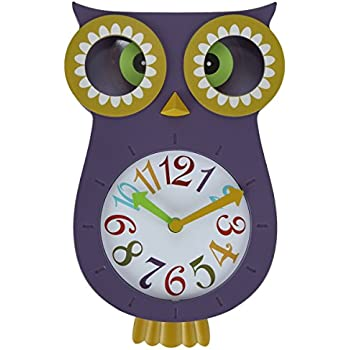 Lily's Home Pendulum Owl Clock with Revolving Eyes and Swinging Tail, Wonderful and Colorful Addition to Owl Themed Bedroom Décor, Purple (13