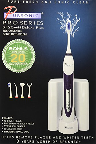 Pursonic S520 Rechargeable Sonic Toothbrush- Includes 20 accessories: 12 Brush Heads & More, White