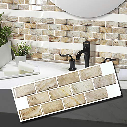 - BEAUSTILE Decorative Tile Stickers Peel and Stick Backsplash Fire Retardant Tile Sheet (Travutin) (2, Regular)