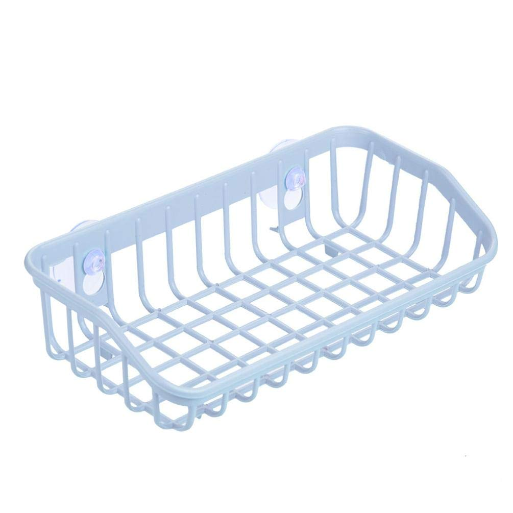 AmaSells Bathroom Drainage Shelf Multifunctional Sponge Storage Rack,Sink Shelf Drain Basket Double Suction Cup Kitchen Drainage Shelf Multifunctional Sponge Storage Rack (White)