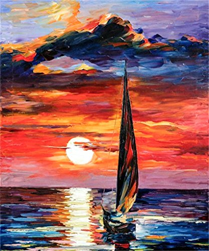 CaptainCrafts Diy 5D Diamond Painting by Number Kits Full Drill Diamond Painting - oil painting style, sunset sailboat (25X30cm/10X12inch)