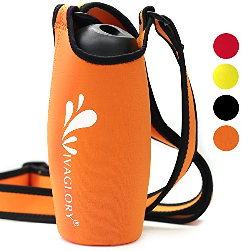 Vivaglory Water Bottle Sling, Lightweight and Super Soft Neoprene Bottle Carrier with Adjustable Shoulder Strap and 3.94 inch Diameter, for Walking Hiking and Other Outdoor Activities, Orange