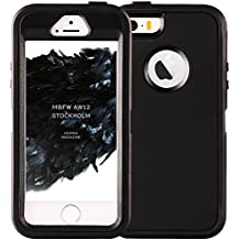 iPhone 5S Case,iPhone SE Case,Fogeek Heavy Duty PC and TPU Combo Protective Defender Body Armor Case for iPhone 5S,iPhone SE and iPhone 5 with Finger Print Function(Black)