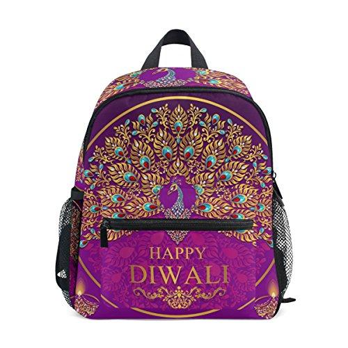 Cooper girl Happy Diwali Peacock Kids Backpack School Bookbag for Girls Boys Teen by Cooper girl