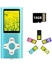 MP3 Player MP4 Player with a 16GB Micro SD Card, Blue