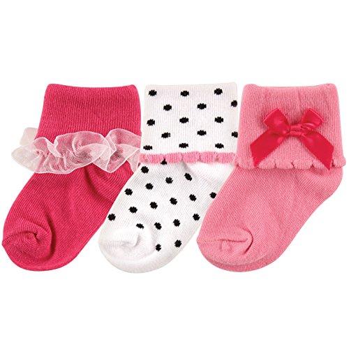 Luvable Friends Girly Socks 3-Pack, Dark Pink, 0-6 Months