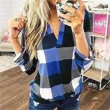 Women Casual Cotton Long Sleeve Plaid Shirt Women's Slim Jacket Shirt Sweatshirt Top Blue