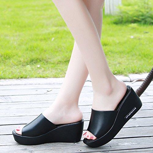 37e81c998305d7 Creazrise Womens Wedges Sandals Slipper Ladies Peep-Toe Platform Flip Flop ( Black B