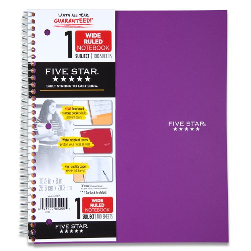 Five Star Wirebound Notebook, 1 Subject, 100 Wide-Ruled Sheets, 8 x 10.5 Inch Size, Purple (72351)