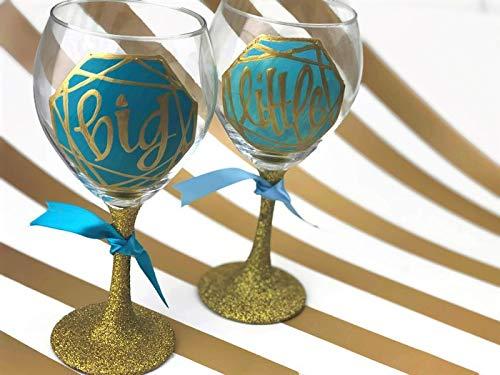 (Set of 2 - Hand Painted Personalized Sorority Big Little Geometric Glitter Wine Glass Set)