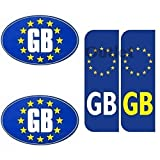 GB Euro Car Number Plate Bumper Stickers EU Law Compliant White & Blue by LizzyTM (4 Pcs Sticker Set)