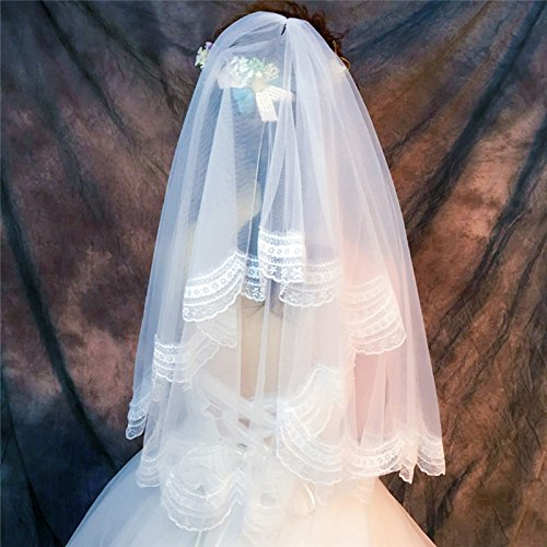 Noloo ウエディング ベール ブライダルベール レース刺繍 花嫁用品 1.5m