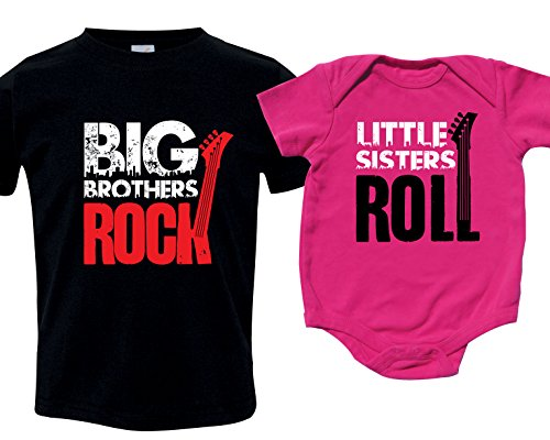 Sister Brother Matching Sibling Shirt Set, Includes Small (6-8) & 0-3 mo