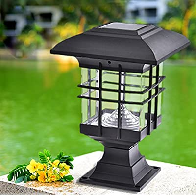 Fulstarshop Solar Pillar Light Waterproof Landscape LED Post Lamp for Outdoor Garden Park Patio Gate Decor