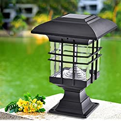 Fulstarshop Solar Pillar Light Waterproof Landscape LED Post Lamp for Outdoor Garden Park Patio Gate Decor