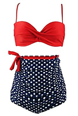 COCOSHIP Retro Polka Dot Twisted Front High Waisted Bikini Set Tie Belt Vintage Ruched Swimsuit(FBA)