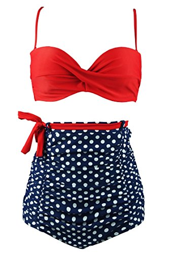 Cocoship Red & Blue White Polka Dot High Waisted Bikini Tie Belt Vintage Bathing Suit Ruched Swimsuit XXXL(FBA)