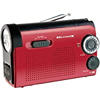 Weather X WR182R NOAA Weather Band and AM/FM Radio Flashlight with Dynamo Hand Crank Power (Red/Black)