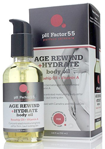 pH Factor 5.5 Age Rewind + Hydrating Rosehip Oil Body Oil for dry skin, wrinkles, sagging skin, dark spots and discoloration