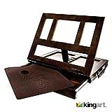 KINGART 704 Desktop Adjustable Art Box with Drawer Wood Tabletop Easel, One Size, Espresso
