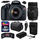 Canon EOS Rebel T5 Digital SLR Camera with EF-S 18-55mm IS II and Sigma 70-300mm f/4-5.6 DG Macro Lens with 32GB Memory, Large Case, Extra Battery, Travel Charger, Card Wallet, Cleaning Kit 9126B003