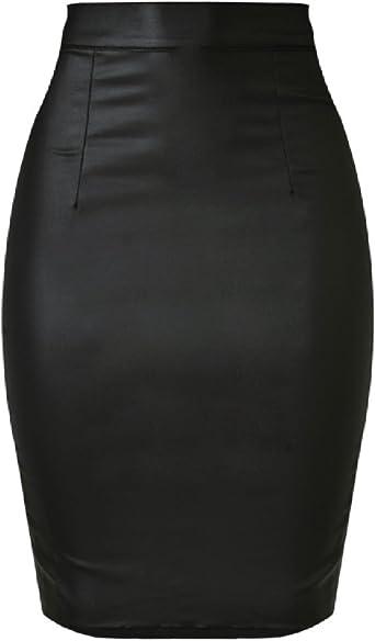 Zhuikun Jupe Crayon Longue Femme Simili Cuir Taille Elastique Moulante Extensible Effet Mouille Amazon Fr Vetements Et Accessoires