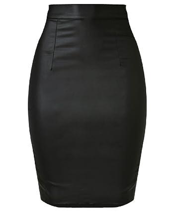 381ff150e66d46 Jupe Crayon Longue Femme Simili Cuir Taille Élastique Moulante Extensible  Effet Mouillé