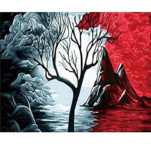 a la venta Tworidc5-50x70cm Framed UPUPUPUP Cuadros Abstractos Pintura por Números Números Números DIY Paisaje Volcánico Pintura Al óleo Acrílico Dibujo árbol Lienzo de Parojo Arte, Tworidc5-50X70Cm Enmarcado  Más asequible