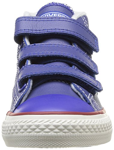 Converse Star Player Junior 3v Leather Mid, Unisex-Kinder Hohe Sneakers Blau (53 BLEU/ECRU)