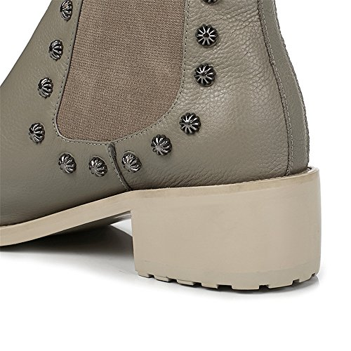 Round Low Nine Genuine On Seven Slip Heel Khaki Boots Women's Ankle Casual Cool Leather Handmade Toe qW1fawH1n
