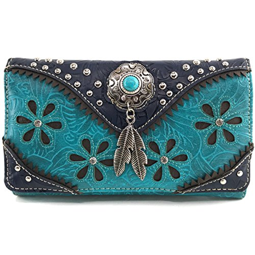 (Justin West Turquoise Stone Concho Feathers Western Tooled Studs Concealed Carry Handbag Purse (Turquoise Wallet Only))