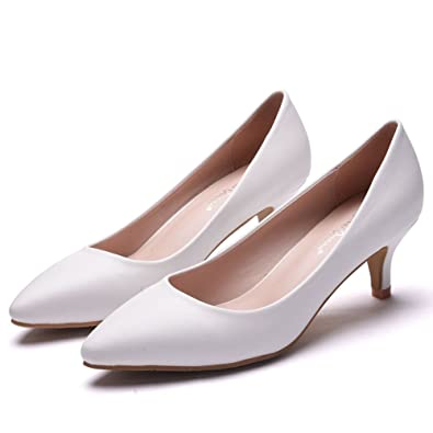 a215bfe5bf4b 5CM Thick Heel Shoes Low Kitten Heel Pumps for Women Black Pointed Toe  Dress Shoes White