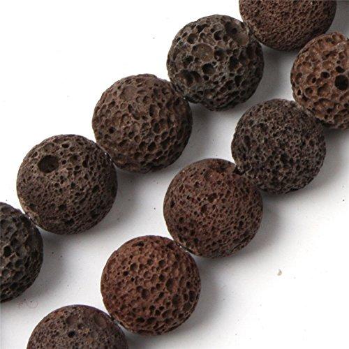 Brown Lava Rock Beads for Jewelry Making Gemstone Semi Precious 16-17mm Round 15
