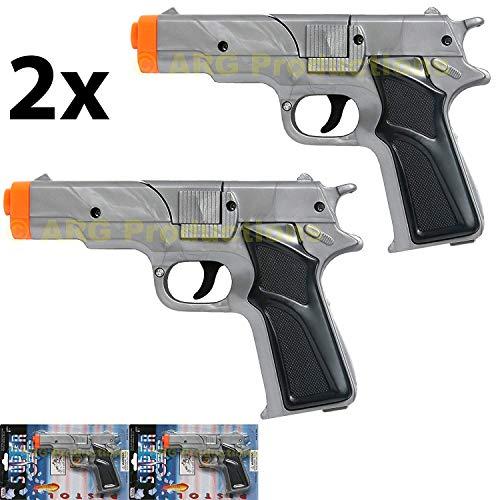 Cap Gun Pistol (LOT OF 2 - SILVER CAP GUN PISTOL REVOLVER DETECTIVE POLICE COWBOY TOY COLT)