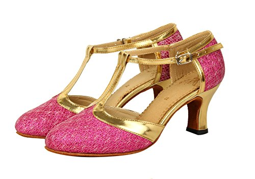 Shoes Strap Toe Dance Women's Honeystore T Closed Dance Jane Glitter Mary Fuschia Latin SqY1P