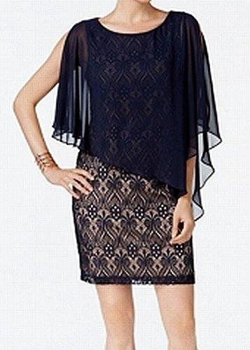 (Connected Apparel Womens Chiffon Lace Sheath Dress)