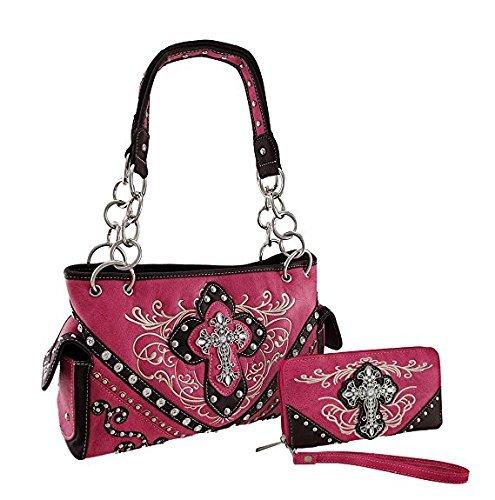 Rhinestone Cross Leather Women's Handbag Purse Wallet Matching Set 8624 in Black Pink and Turq (8624 Pink Handbag)