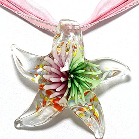 AnsonsImages Pink Green Flower Clear Starfish Nautical Murano Inspired Glass Pendant Ribbon Necklace - Green Murano Glass Pendant