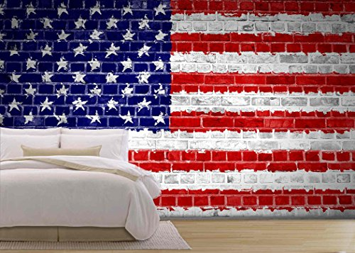 an Image of the United States of America Flag Painted on a Brick Wall in an Urban Location