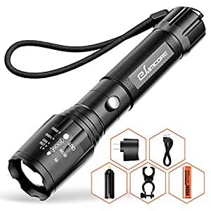 Bright Rechargeable Tactical Flashlight, eSamcore High Lumens LED Flashlights Flash Light with Battery for Camping