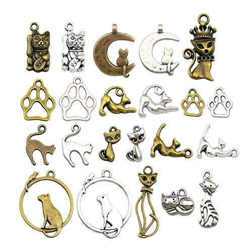 iloveDIYbeads 100g (65pcs) Craft Supplies Small Antique Silver Bronz Animals Cats Charms Pendants for Crafting, Jewelry Findings Making Accessory for DIY Necklace Bracelet - Cat Jewelry Charm