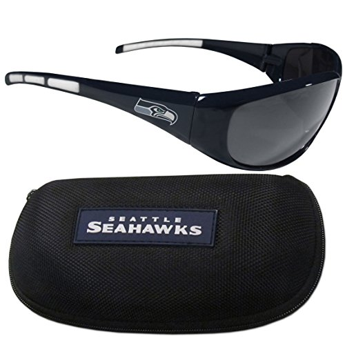 NFL Seattle Seahawks Wrap Sunglasses & Zippered Case, - Seattle Sunglasses