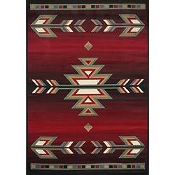 "Home Dynamix Premium Sagrada Area Rug Modern Southwestern Style Living Room Rug | Bold Aztec Print | Black, Red, Multicolor Pattern 3'7"" 5'2"""