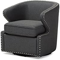 Baxton Studio Finley Mid Century Modern Fabric Upholstered Swivel Armchair, Grey