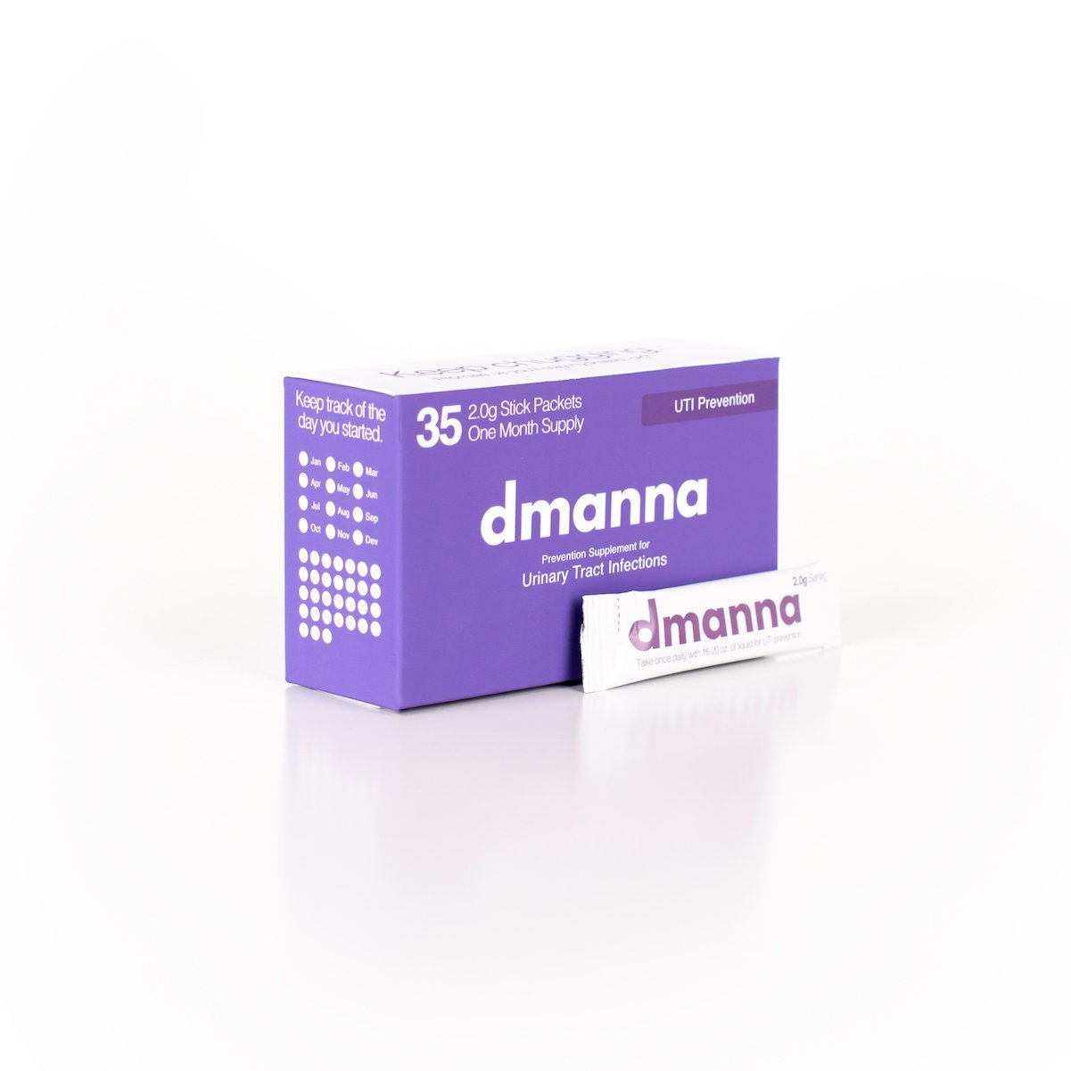Dmanna Daily D-Mannose Packets – UTI Preventative for Urinary Tract Bladder Health – Safe Effective UTI Prevention – No More Cranberry Concentrate Pills – 35 Packets
