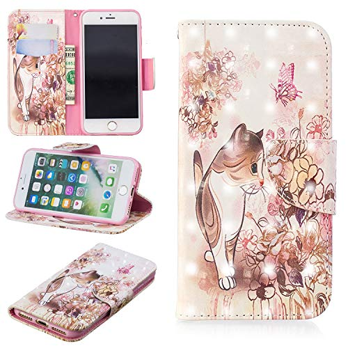 Flip Wallet Case for iPhone 7,iPhone 8 Case,Yobby Slim Premium PU Leather Case with 3D Colorful Pattern Design Card Slots and Magnetic Closure Stand Shockproof Cover-Cat